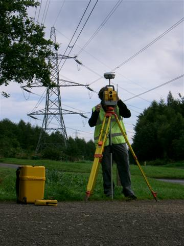 surveying powerlines with combination of GPS & total station
